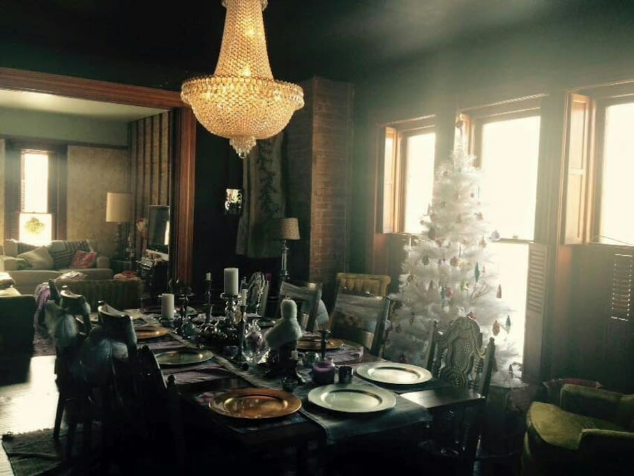 Chandelier Dining Room during the holidays.