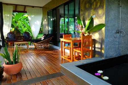 Beautiful Tropical Modern house, outdoor bathtub - House