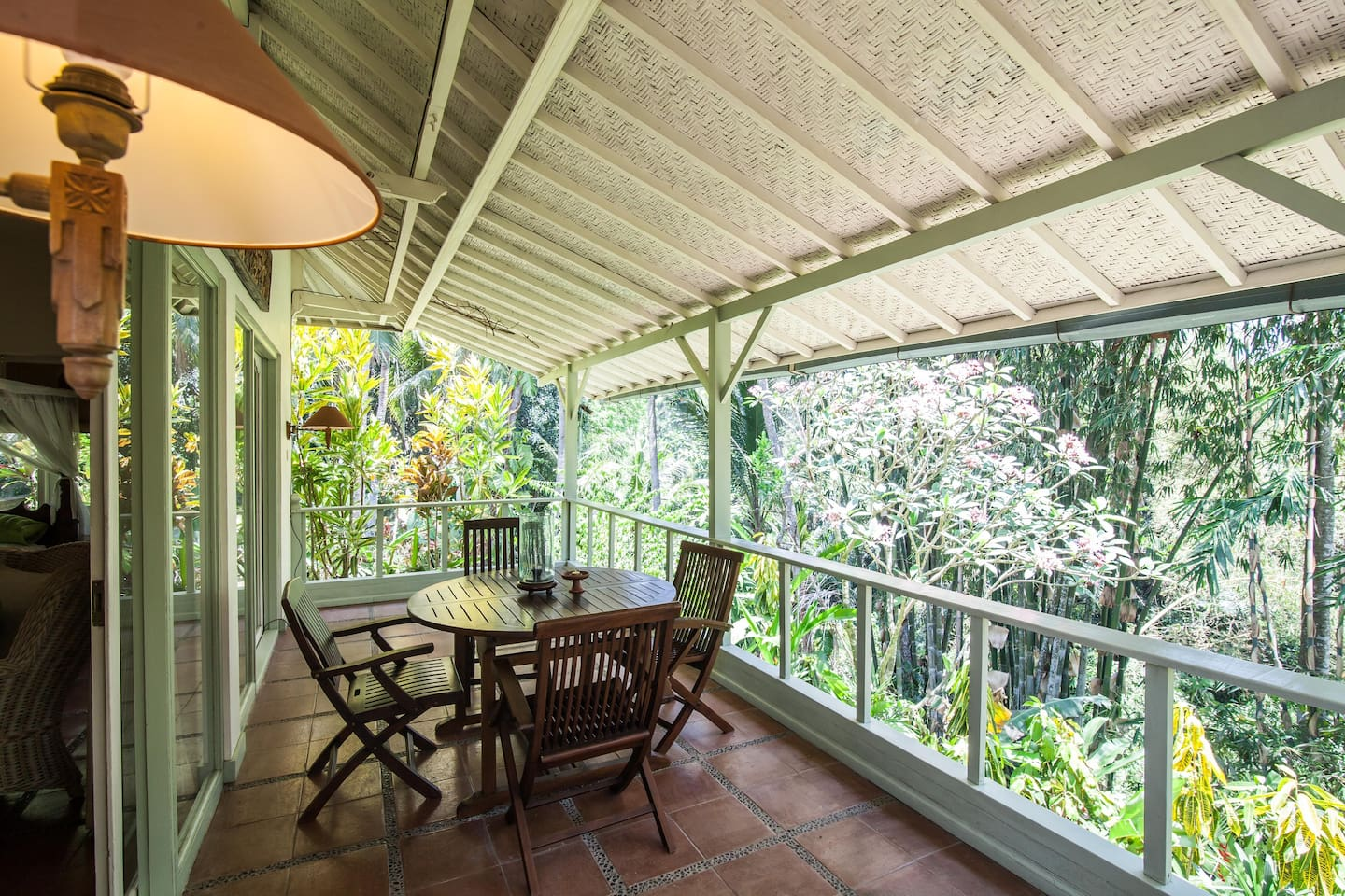 Veranda off Master Bedroom with view to jungle river gorge