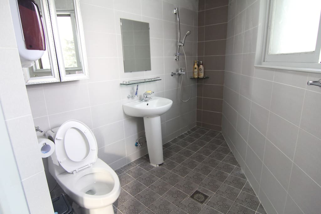 Some toiletries are readily available for use in each bathroom. Women also have a powder room in their dorm room.