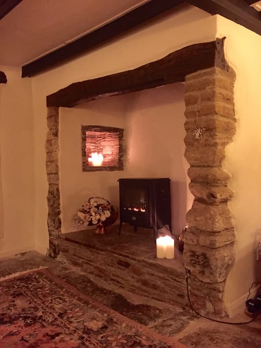 The cosy fireplace