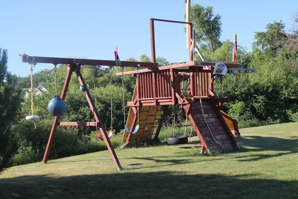 Playset area in backyard