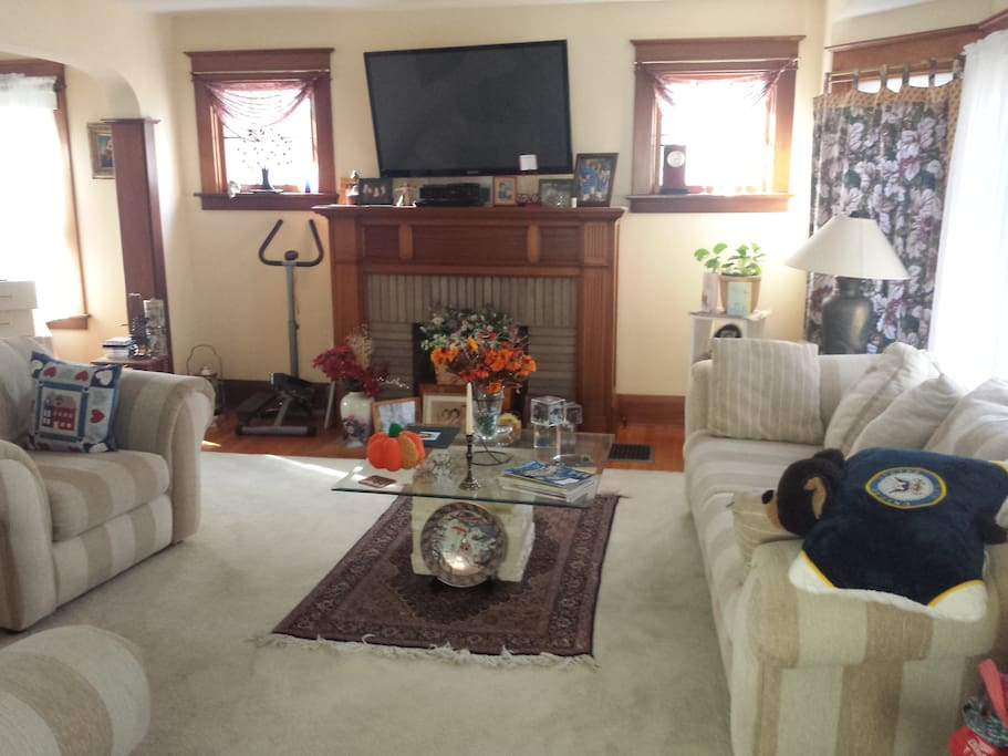 Spacious, bright living room. Television access.