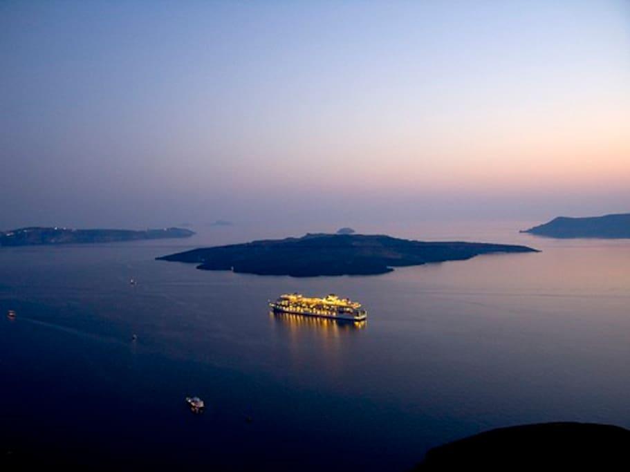 Sunset in Fira (capital of Santorini) distance from Perissa 15