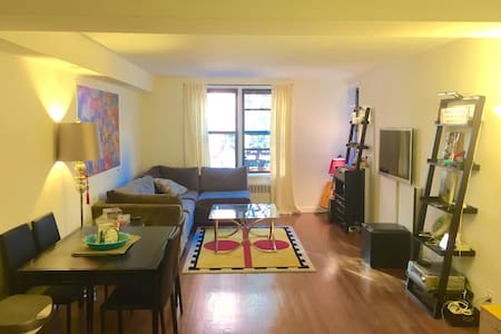 HUGE (800 square foot). Has lots of light and the beautiful cherry trees bloom right outside the living room windows. There is an elevator, washing machine and dryer, flat screen TV, apple TV, Wi-Fi, sound system, and a Nesspresso machine.
