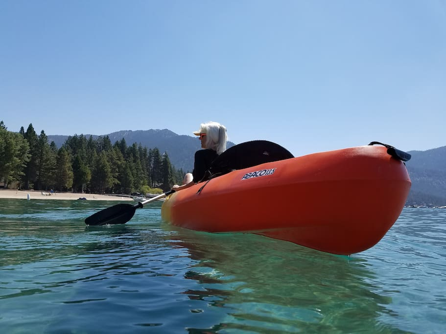 your 2-person kayak is stored right at the private beach (you have a pass to)