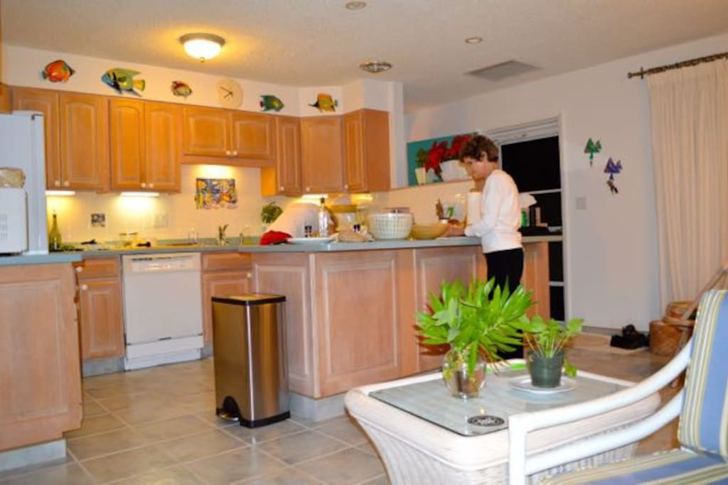 Kitchen is fully equipped with ample prep space.