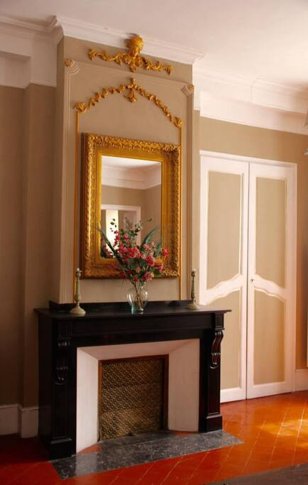 mirror and marble fireplace