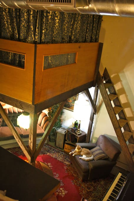 The loft bed with high ceilings. . .
