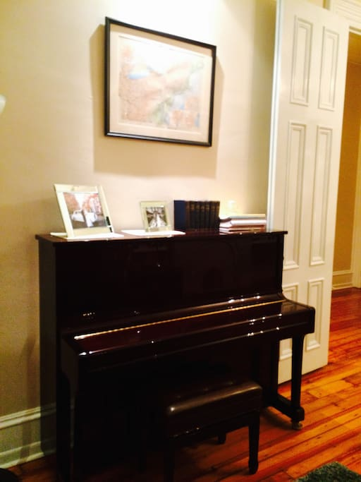 Our beautiful Cunningham Piano is perfect for visiting musicians preparing for concerts or auditions at Curtis, Temple and other Philly venues.  Our spacious living room makes for a beautiful rehearsal space.