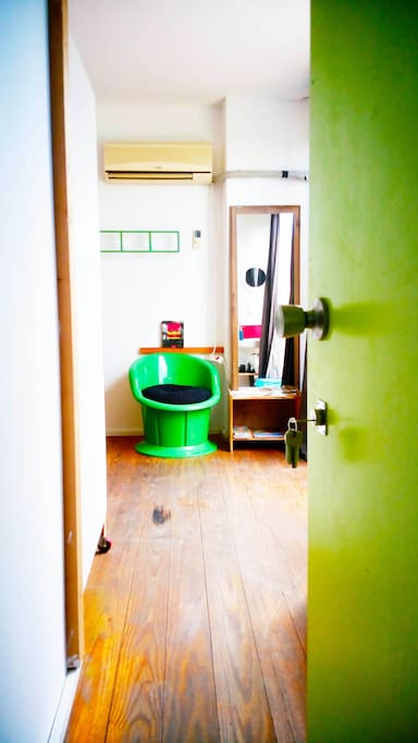 The entrance of the room.On the right, its the shower and the toilet