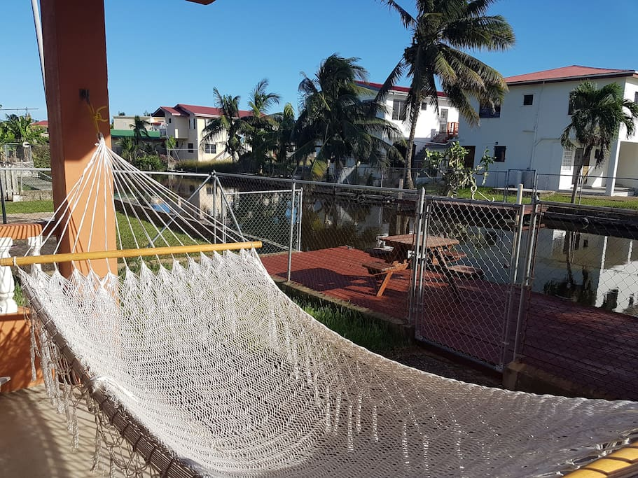 Hammock on the back porch overlooking the canal