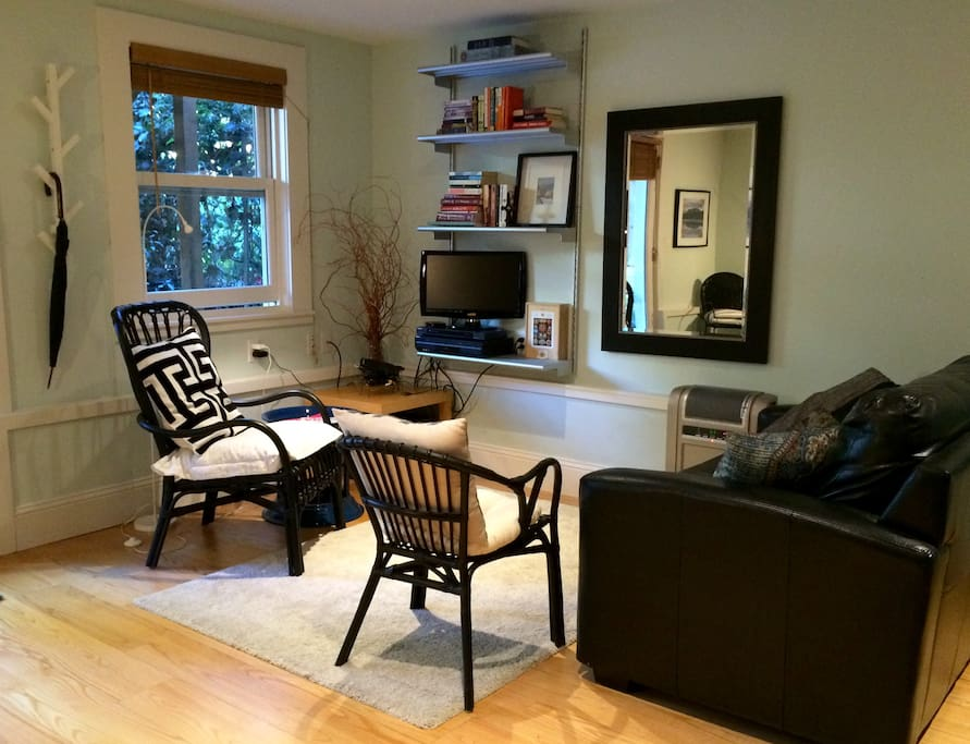 Living room seating area, with cozy carpet; TV; books, puzzles and games.