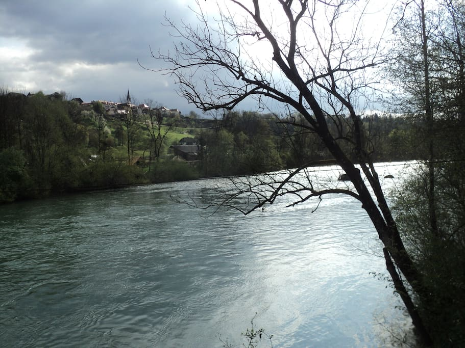 This is river Sava flowing by just next to the house and Radovljica in the background (1 km away).