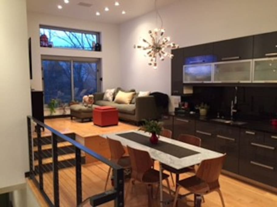 Raised living room, kitchen table and kitchen