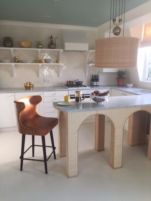 the kitchen from the sitting room for the photo shoot