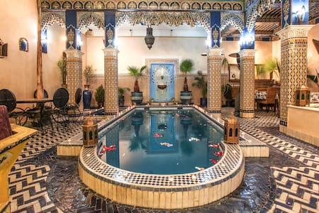 Riad Marrakech double bed room blue