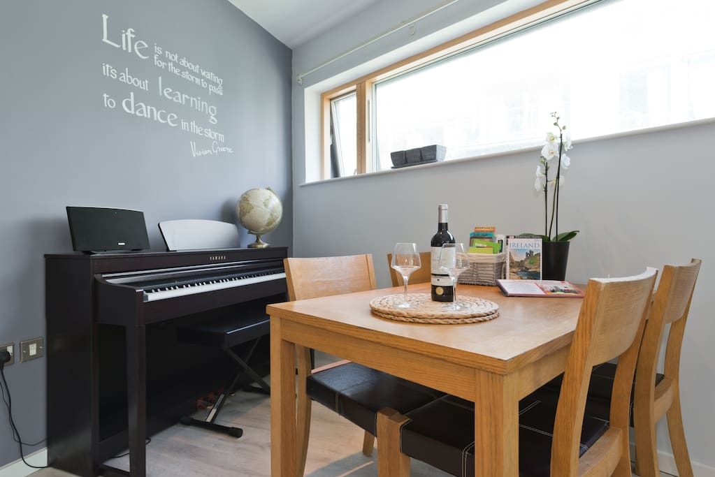 Living and dining Area, shave a good diner or a good bottle of wine (to music if you play!)