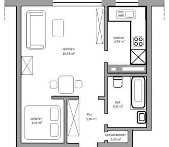 möblierte 1,5 Zimmer Wohnung 32 qm, FFM-Fechenheim - Wohnung