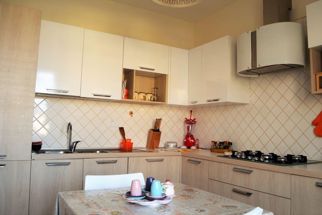 Cucina ultra moderna con forno, frigo, lavastoviglie, tostapane