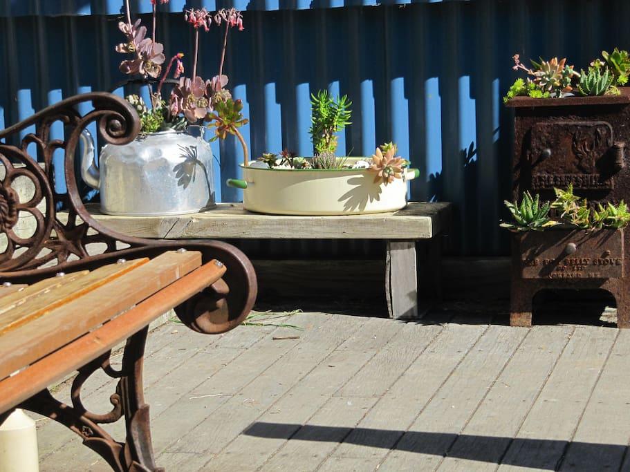 Rustic, comfy outdoor area