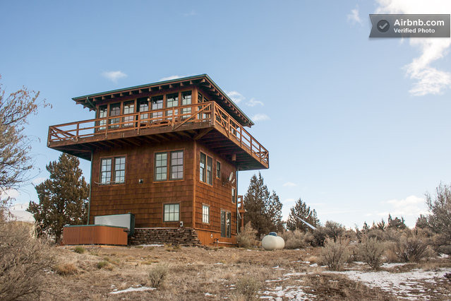 Cozy three story lookout tower in terrebonne for Lookout tower house plans