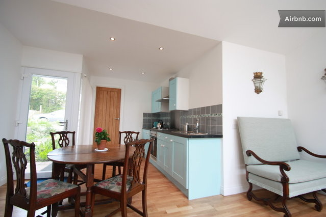 Bright sunny spacious open plan in devon for Galley kitchen with dining area