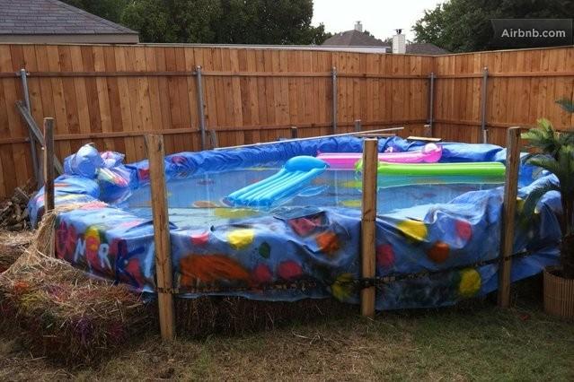 Family fun w arcade hay bale pool in mckinney for Hay bail pool